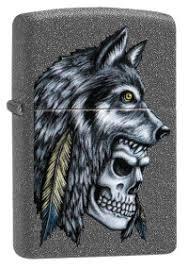 "<b>Зажигалка</b> ""<b>Zippo</b>. <b>Wolf Skull</b>"" с покрытием Iron Stone, 36x12x56 мм"