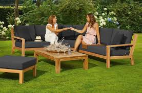 Timber teak modular corner sofa setting by life outdoor living