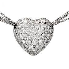 diamond heart pendant platinum necklace