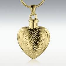 elexia flower heart solid 14k gold cremation jewelry