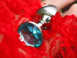 <b>Анальная пробка с кристаллом</b>. Маленькая, серебро 7,5 см ...