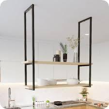Veja como escolher o melhor modelo para cozinha e banheiro. Nicho Preto Prateleira Suspensa Teto Cozinha Madeirado 60cm Metalcromo Nicho Cubo Para Parede Magazine Luiza