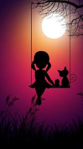 Kid girl and cat, swing, moon light, digital art, 720x1280 wallpaper |  Shadow painting, Cute wallpaper backgrounds, Silhouette art
