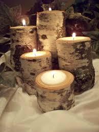 Birch Tea light candle holder Set of Five, Rustic Natural Birch Logs,Wedding  table