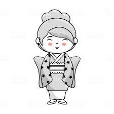 かわいい日本人の女の子キャラクター 1人のベクターアート素材や画像を