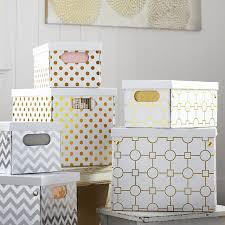 Decorative Fabric Storage Boxes Metallic Printed Storage Bins PBteen 96