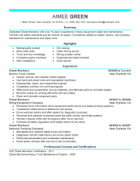 Mechanic Resume Diesel Technician Resume Resume For Study 35