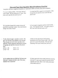 two step addition and subtraction word problems algebra 1 one step equation