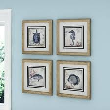 seaside 4 piece framed graphic art set on framed 10 silver squares wall art with framed wall art birch lane