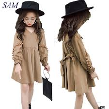 2018 new autumn vintage style baby girl velvet dress bowknot lantern sleeve winter kids corduroy pompoms