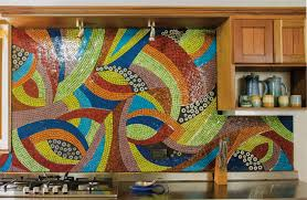 view in gallery large mosaic backsplash in very bright colors