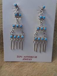 zuni 2 1 8 sterling silver turquoise chandelier earrings pretty