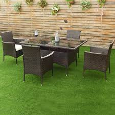 costway 5pcs rattan garden sofa set outdoor patio furniture table chair with cushion 0
