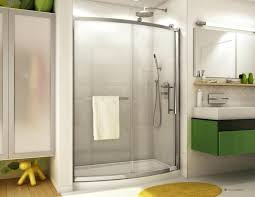 curved sliding door with fixed panel shower enclosure seamless
