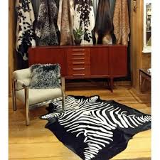 stenciled brazilian cowhide zebra area rug