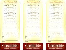 Restaurant Ment Cards Images Free Restaurant Comment Card Template
