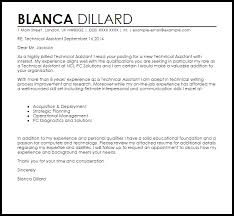 Sample Technical Cover Letters Technical Assistant Cover Letter Sample Cover Letter