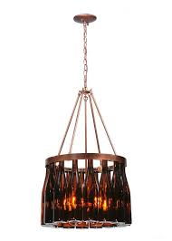 Wine Bottle Light Fixture Kitchen Brown Wine Bottle Chandelier With Brown Metal Canopy And