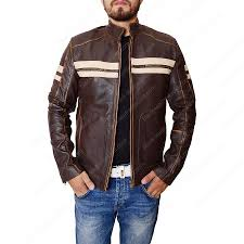 mens dark brown leather cafe racer motorcycle jacket