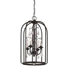 aspen 4 light aged bronze cage pendant with k9 crystal accent