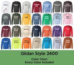 Gildan 2400 Color Chart Every Color Digital File Ultra Cotton Long Sleeve T Shirt Color Guide Psd Jpeg Jpg Photoshop Edit Tshirt Color Guide