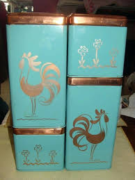 stunning retro kitchen canisters vintage sugar flour coffee tea blue square rooster canister style extraordinary