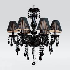 jet black silken shade and curved crystal glass arms 5 light mysterious chandelier