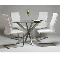 modern home and office furniture eritea dining table with stainless steel base and 48 round glass table top
