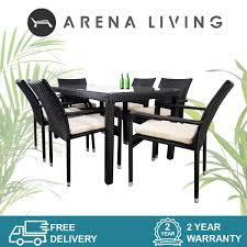 boulevard 6 chair dining white cushion outdoor furniture by arena living