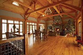 Open Stone Fireplace Open Timber Frame Room Walls Of Windows On Both Sides Stone