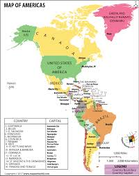 map of north america and south america  map of americas