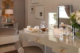 contemporary bedroom gold and white dresser makeup vanity dressing table room taupe velvet gold mirror