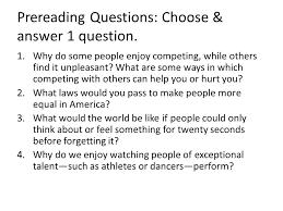 harrison bergeron by kurt vonnegut jr ppt video online prereading questions choose answer 1 question
