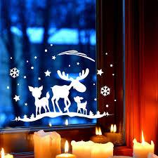 Fensterbild Elch Rehe Fensterdeko Fensterbilder Winter Sterne Schneeflocken Selbstklebend Für Kinder M2261