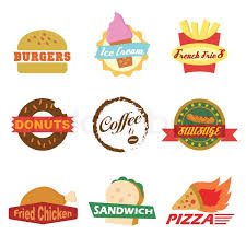 fast food restaurants logos. Plain Logos Set Of Fast Food Logo Designs On White Background  Stock Vector Colourbox In Fast Food Restaurants Logos S