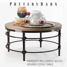 parquet reclaimed wood round coffee