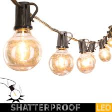 Shatterproof Patio Lights 100ft Led G40 Outdoor Patio String Lights With 100 Shatterproof Led Clear Globe Bulbs Warm White Ambience Indoor Outdoor Lights For Patio Garden