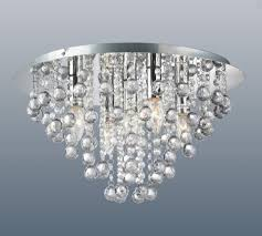 round 5 light chrome ceiling lights flush fitting crystal droplet chandeliers
