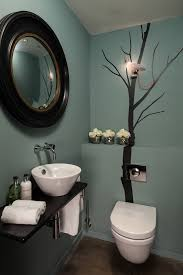 contemporary bathroom colors. Bathroom, Trendy Powder Room Photo In Other With A Vessel Sink And Blue Walls: Contemporary Bathroom Colors