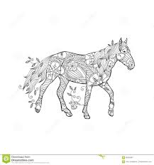 Coloring Page In Zentangle Inspired Style. Running Horse Ornate By ...