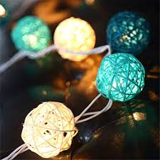 Decorative String Balls Extraordinary COTW Handmade Rattan Balls Decorative String Lights Blue White Light