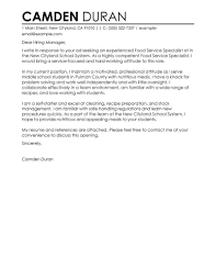 Cover Letter Livecareer Best Education Food Specialist Cover Letter Examples Livecareer