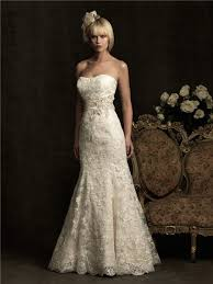 strapless scoop neck ivory lace wedding dress with belt buttons