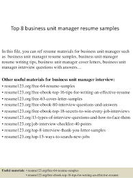 Top 40 Business Unit Manager Resume Samples Amazing Business Manager Resume