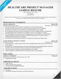 Project Manager Resume Examples Extraordinary Resume For Hospital Job Healthcare Project Manager Resume Example