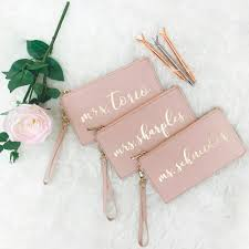 personalized bridesmaid wristlets with gold foil names