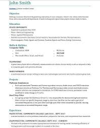 Engineering Intern Resumes Electrical Engineering Student Resume For Summer Internship