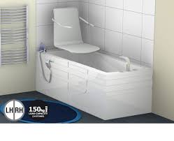 assistive bath with seat lift left right hand options available moulded seat with fold down armrests