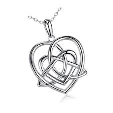 bgty s925 sterling silver celtic knot triangle vintage love heart pendant nec