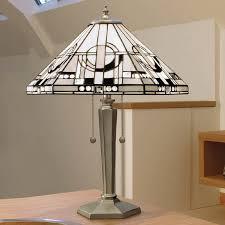art deco lamp. Metropolitan Range Art Deco Tiffany Table Lamp - Aluminium-0